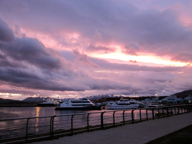 Sunset at the Ushuaia port
