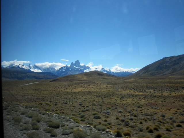 The Fitz Roy mountains as we approach El Chalten