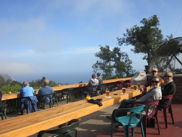 Plentiful outdoor seating at Nepenthe. With my parents and sister.