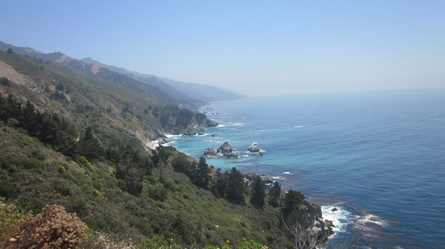 At the signed vista point just before Julia Pfeiffer Burns state park (heading south-bound)